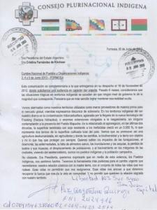 Documento presentado a CFK