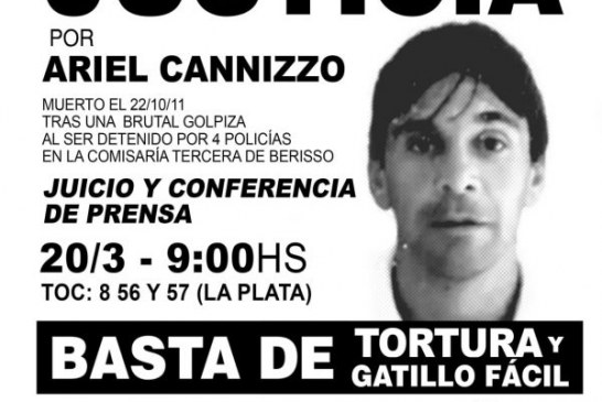 Comienza el jucio a cuatro policías por la muerte de Ariel Cannizzo en una Comisaría
