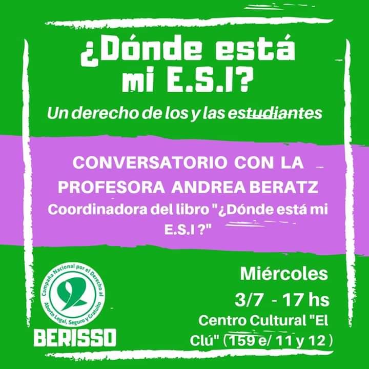 En Berisso realizan un conversatorio sobre aborto y ESI
